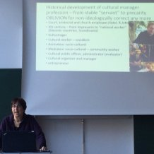 Milena Dragićević Šešić , former President of University of Arts, Belgrade, now Head of UNESCO Chair in Interculturalism presented on the development of arts and cultural management as a profession